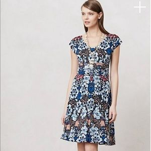 Anthro Meadow Rue Batik Gardenia Floral Dress